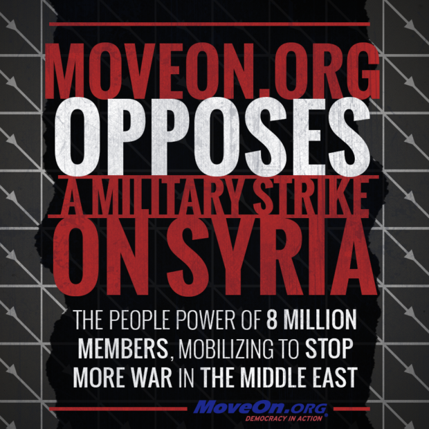 MoveOn.org opposes a military strike on Syria