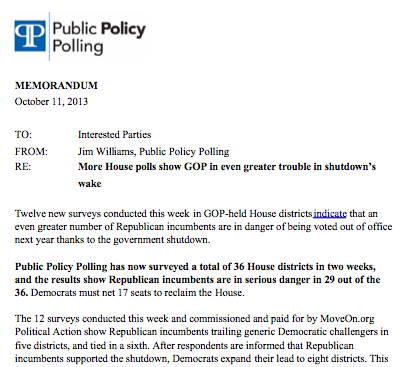 Polling Memo -- PPP Oct 2013