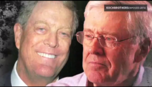"A screenshot from the trailer for ""Koch Brothers Exposed: 2014 Edition"""