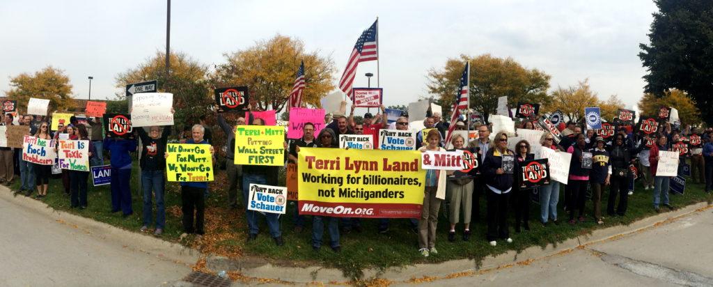 Voters protest Mitt Romney & Terri Lynn Land's 1% Agenda