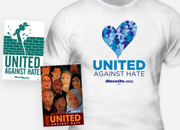 MoveOn Store: United Against Hate stickers, shirts and more.