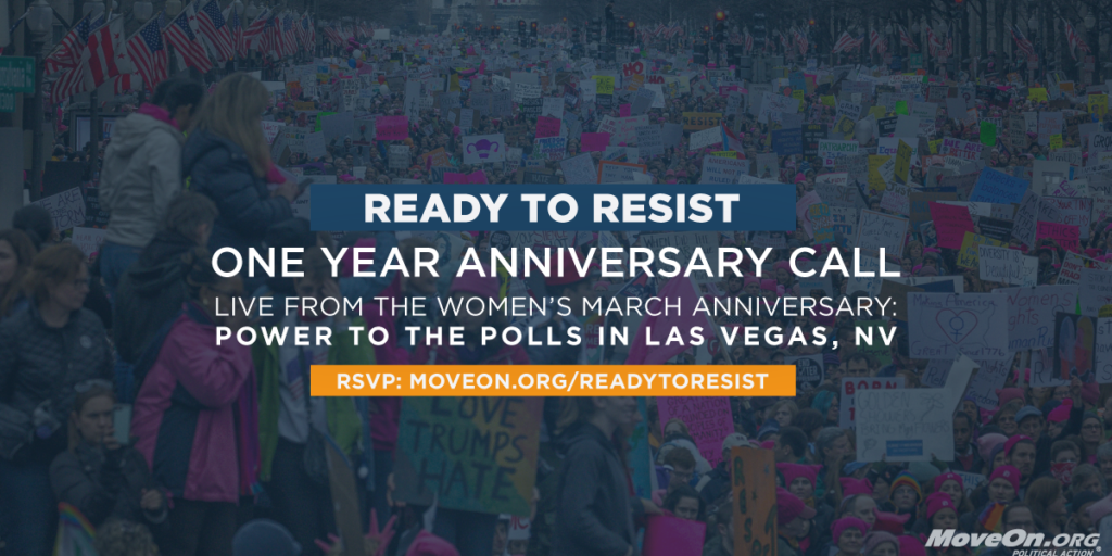 RSVP for the anniversary Ready to Resist call this Sunday, January 21.