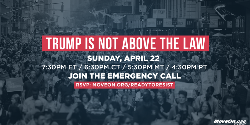 "Join Sunday's Emergency ""Trump is Not Above the Law"" call with Karine Jean-Pierre, Sen. Cory Booker, and movement leaders."