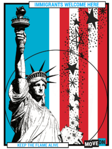 Image of America Welcomes sticker: Statue of Liberty design